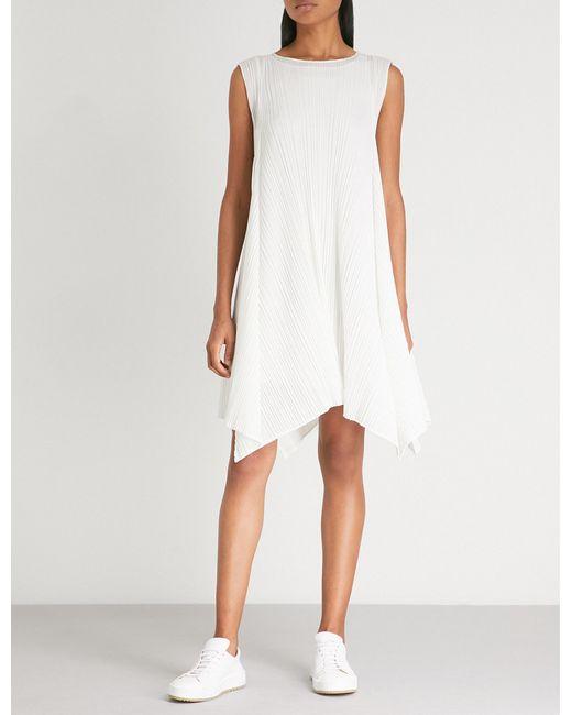 Pleats Please Issey Miyake - White Handkerchief-hem Pleated Dress - Lyst