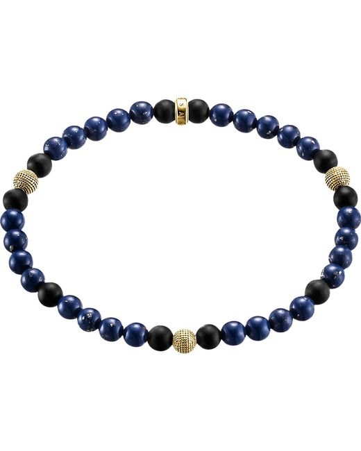 Thomas Sabo - Metallic Rebel At Heart Gold-plated Sterling Silver And Obsidian Beaded Bracelet - Lyst