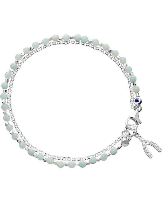 Astley Clarke - Blue Wishbone Sterling Silver Amazonite Friendship Bracelet - Lyst