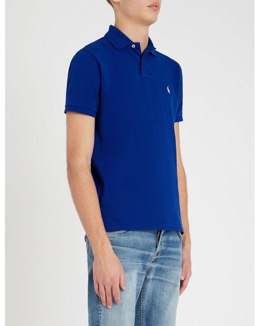 Polo Ralph Lauren Logo Embroidered Custom Cotton Pique Polo Shirt In