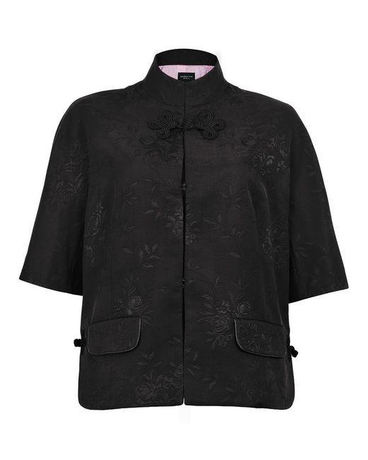 Shanghai Tang - Black Flower Jacquard Mandarin Collar Jacket - Lyst