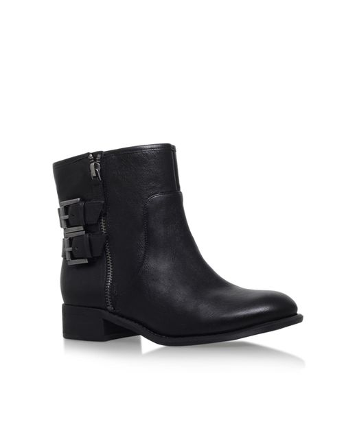 Nine West | Black Justthis Flat Buckle Detail Ankle Boots | Lyst
