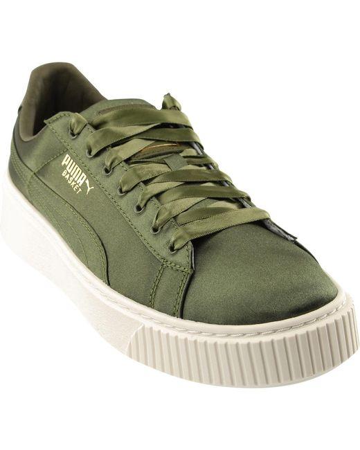 PUMA - Green Basket Platform Satin - Lyst