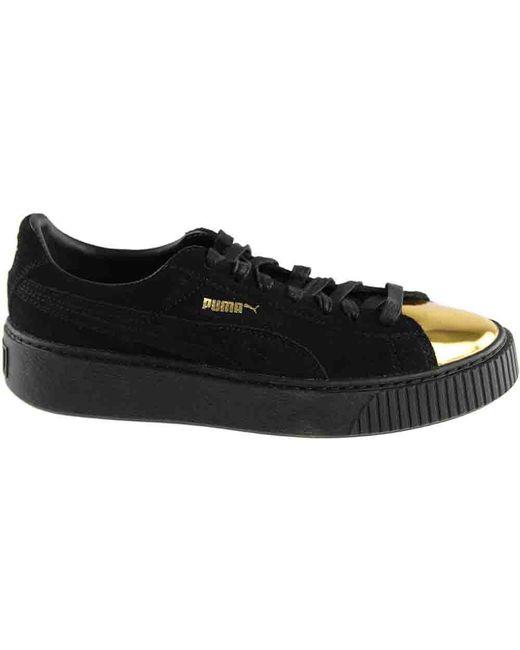 free shipping 197d5 b810c ... PUMA - Black Suede Creeper Gold - Lyst ...