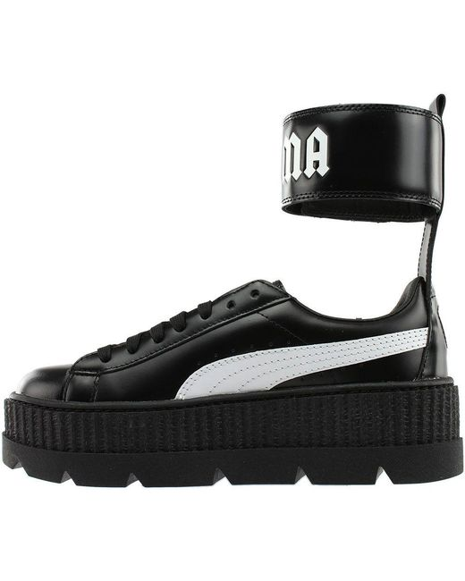 Lyst - PUMA Ankle Strap Leather Creeper Sneakers in Black - Save 52% 614055c5d