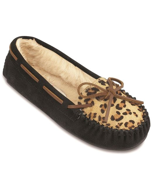 Minnetonka - Black Leopard Cally Slipper - Lyst