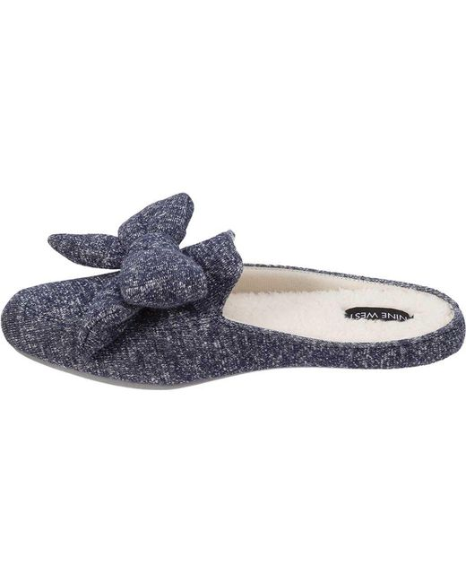 6f44f478509 ... Nine West - Blue Loafer Scuff Slipper With Bow And Terry Sock - Lyst ...