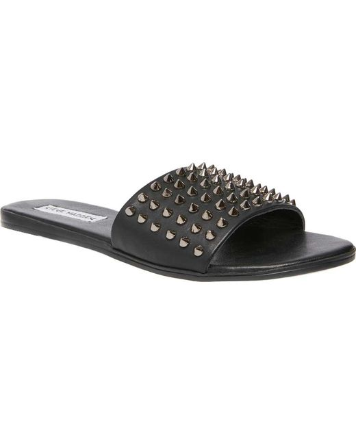20876224e2d Lyst - Steve Madden Farryn Studded Slides in Black - Save 4%