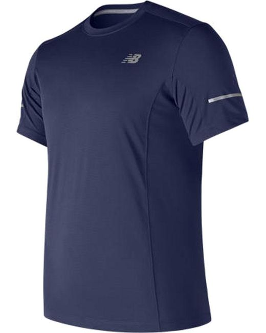 New Balance - Blue Mt73916 Short Sleeve 5k Run Tech Tee for Men - Lyst