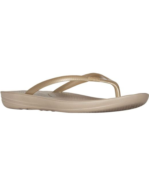c2dbde269273 Fitflop - Metallic Iqushion Ergonomic Flip-flop - Lyst ...