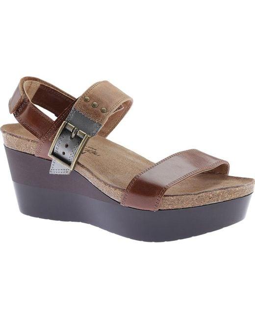 Naot - Brown Alpha Wedge Sandal - Lyst