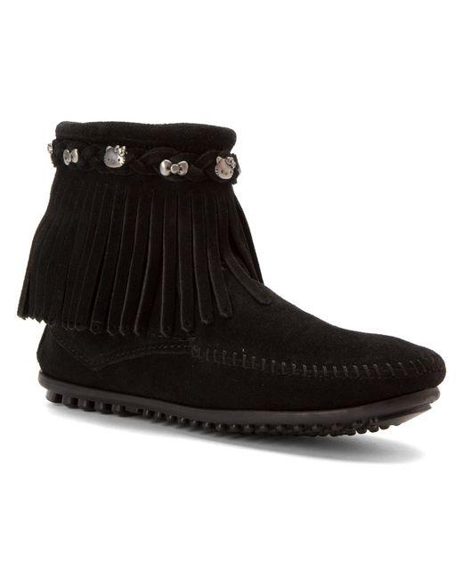 Minnetonka | Black Double Fringe Tramper Boots | Lyst