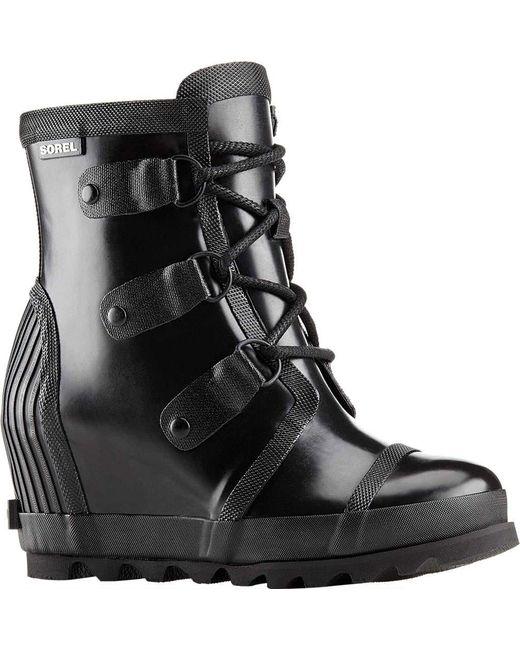 Sorel | Black Joan Rain Wedge Gloss Boot | Lyst