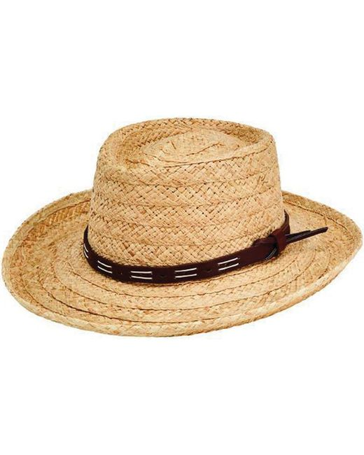 fb4071e0dfd63 San Diego Hat Company - Natural Raffia Gambler Fedora W  Faux Leather Band  Rhm6100 for