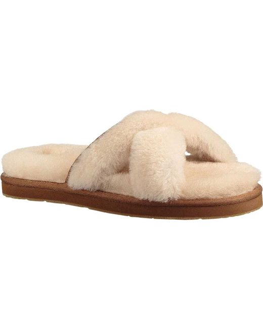 dcd5bd252ed Lyst - UGG Women s Abela Open Toe Sheepskin Slide Sandals in Natural ...