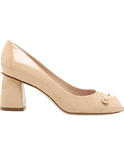 Stuart Weitzman Tabeta Aniline Leather Peep-Toe Shoe (Women's) Q7GPBU