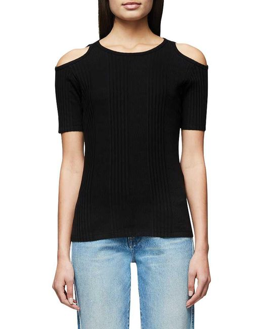 FRAME - Black Variegated Cutout Tee - Lyst