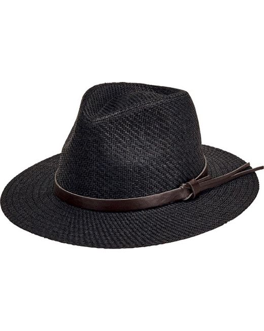 56802076617 San Diego Hat Company - Black Faux Leather Band Cut And Sew Paper Fedora  Cth3561 for