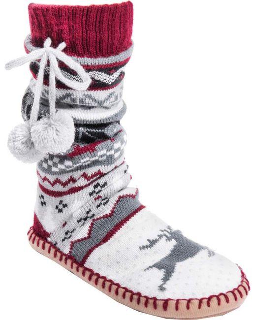 Muk Luks - Gray Slipper Socks With Poms - Lyst