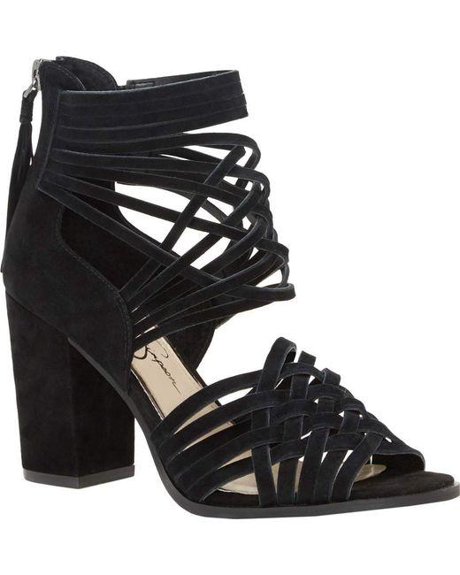 Jessica Simpson | Black Reilynn Suede Leather Back Zip Block Heel Strappy Sandals | Lyst