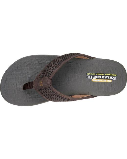 1d501e80249c ... Skechers - Brown Relaxed Fit Pelem Emiro Flip-flop for Men - Lyst ...
