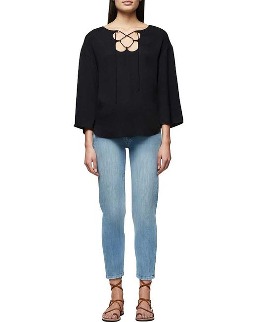 d406ea519f ... FRAME - Black Mirrored Lace Up Blouse - Lyst ...