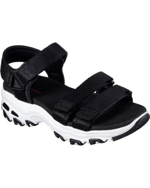 Skechers - Black D'lites Fresh Catch Ankle Strap Sandal - Lyst