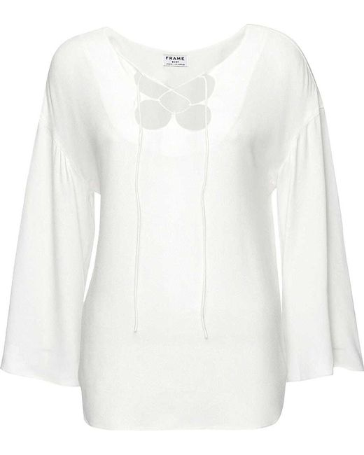 be4a05ca8b ... FRAME - White Mirrored Lace Up Blouse - Lyst