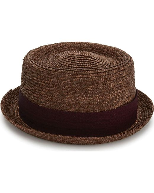 a313724b756d8 ... Original Penguin - Brown Round Top Straw Porkpie Hat for Men - Lyst ...