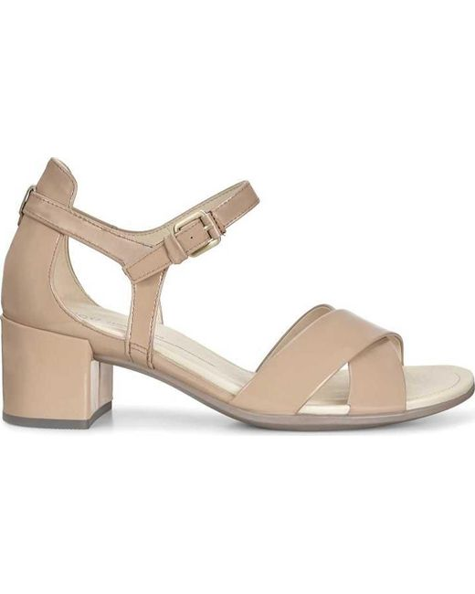 Strap In Shape Ecco Block Ankle Sandal Natural Lyst 35 XuOkTPZi