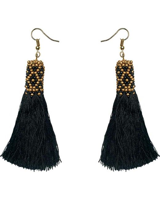 San Diego Hat Company - Black Fringe Earring With Beading Detail Bsj3502 - Lyst