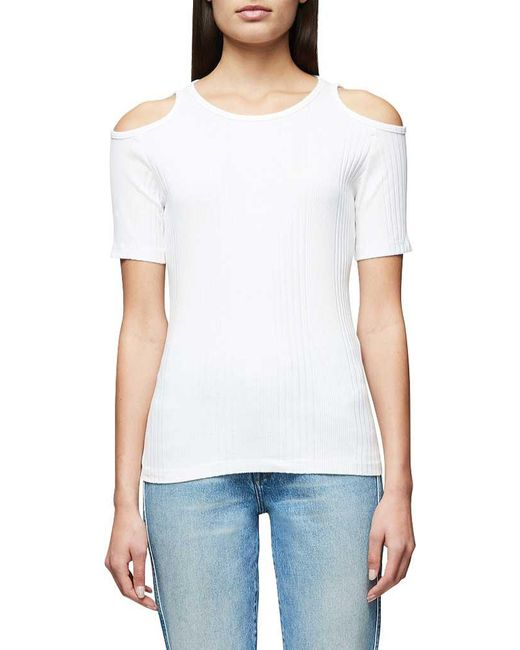 FRAME - White Variegated Cutout Tee - Lyst
