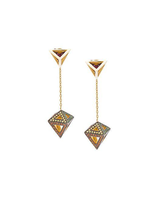 Noor Fares | Metallic Gold Octahedron Earrings | Lyst