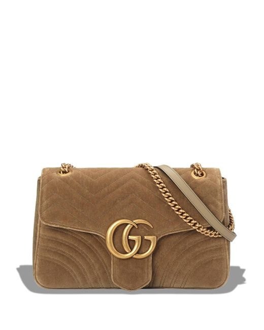 Gucci - Brown Taupe GG Marmont Velvet Medium Shoulder Bag - Lyst