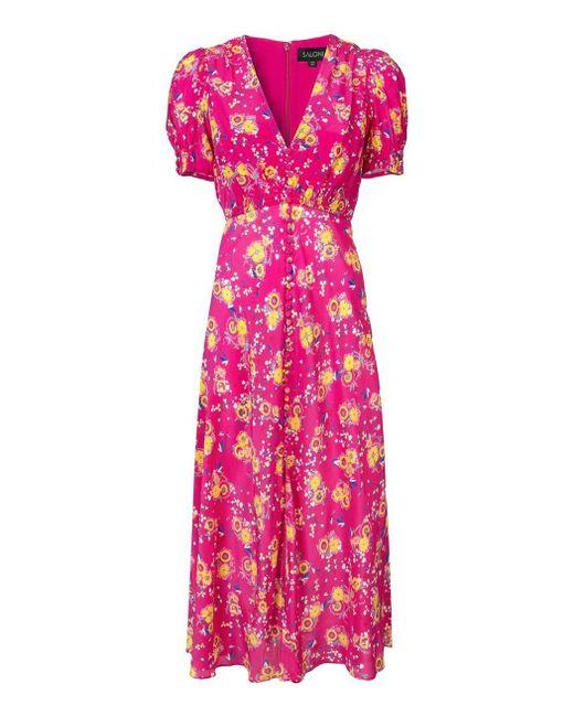 Saloni - Pink Floral V-neck Dress - Lyst