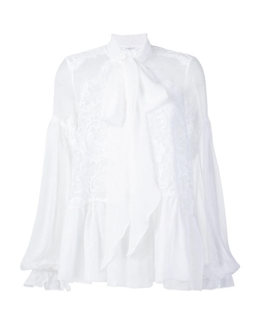 Givenchy - White Pussy-bow Lace-embroidered Silk Blouse - Lyst