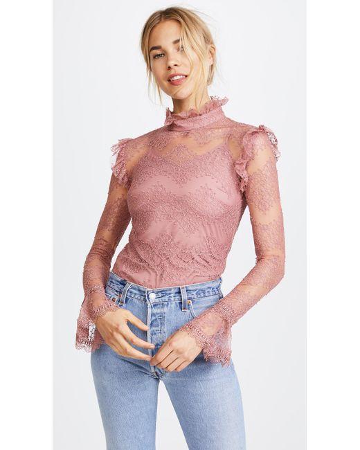 Nicholas   Pink Thalia Lace Ruffle Blouse   Lyst