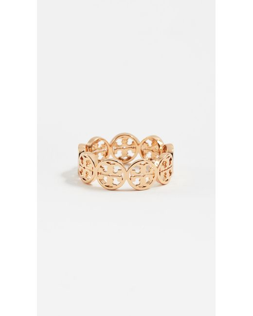 Tory Burch - Metallic Frozen Logo Ring - Lyst