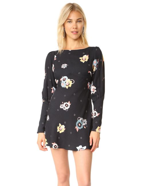 Free People | Black Sunshadow Mini Dress | Lyst