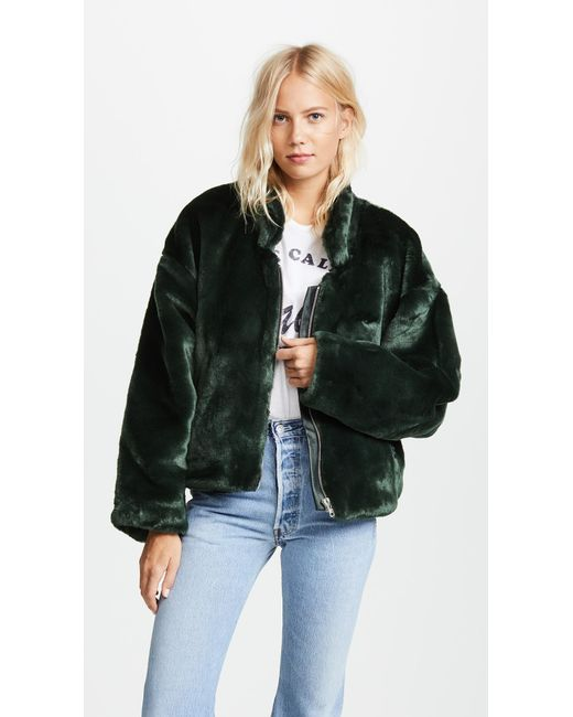 Free People | Green Furry Bomber Jacket | Lyst