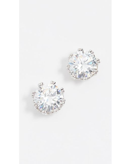 Kenneth Jay Lane - Metallic Round Cz Stud Earrings - Lyst
