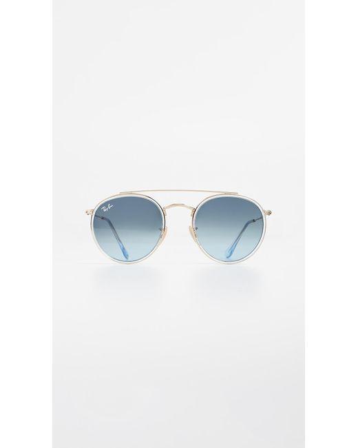 Ray-Ban - Blue Rb3647n Round Double Bridge Aviator Sunglasses - Lyst