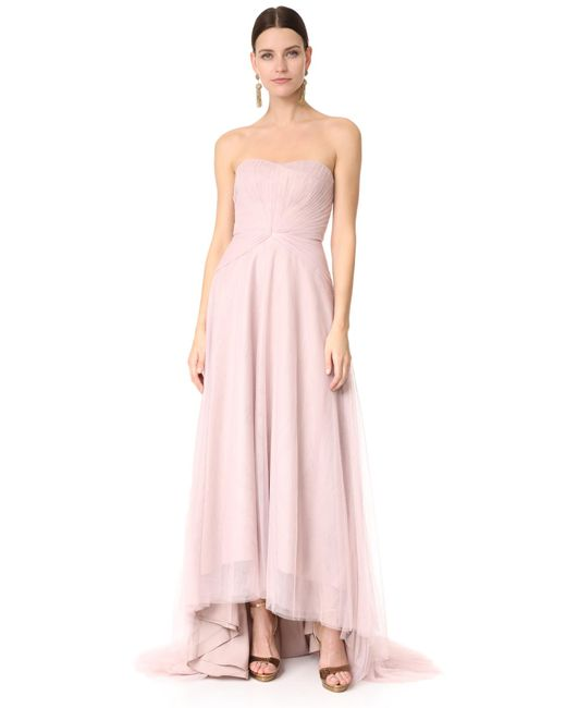 Monique Lhuillier Bridesmaids | Pink Strapless Sweetheart High Low Dress | Lyst