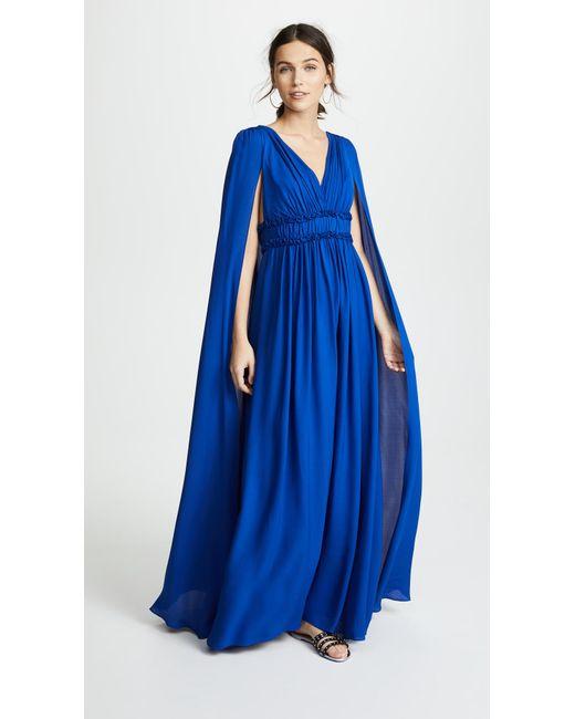 Marchesa notte - Blue V Neck Silk Cape Gown - Lyst