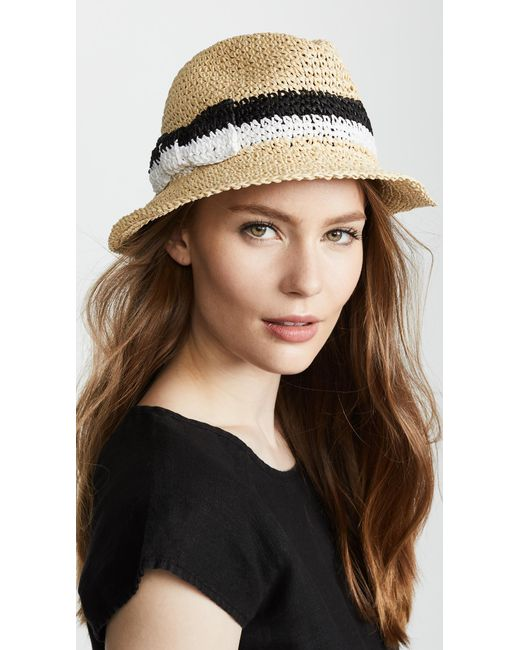 Kate Spade - Natural Crochet Bicolor Bow Trilby Hat - Lyst