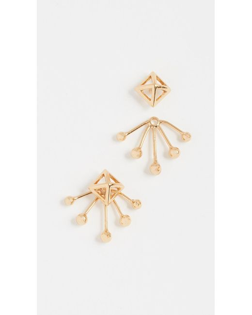 Rebecca Minkoff - Metallic Pyramid Fan Stud Earrings - Lyst