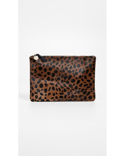 Clare V. - Multicolor Leopard Flat Haircalf Clutch - Lyst