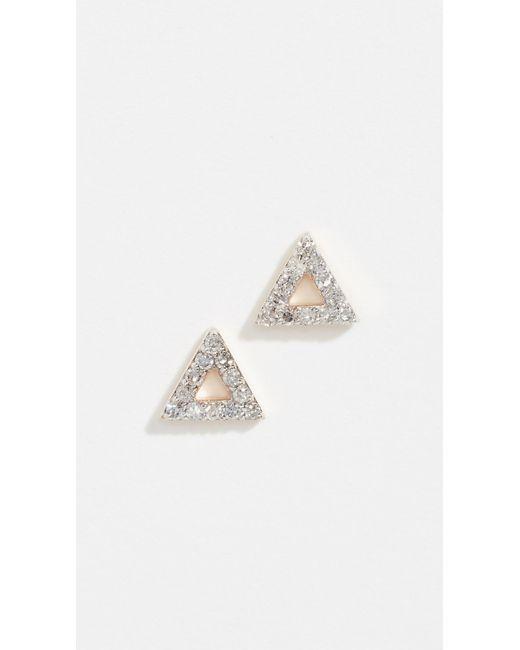 Mateo - Metallic 14k Mini Diamond Triangle Studs - Lyst