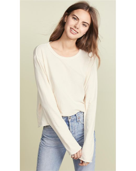 The Great - White The Long Sleeve Crop Tee - Lyst