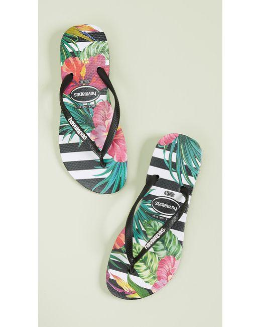16334b55964d Havaianas - Black Slim Tropical Floral Flip Flops - Lyst ...